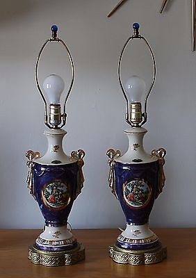 Pair vintage Lido French Victorian courting couple table lamps marble paint