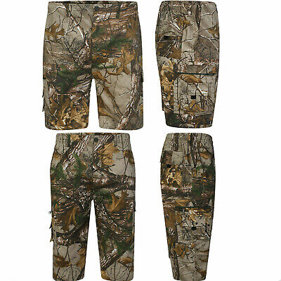 Mens Forest Camo Hunting Cargo Real Tree Shorts & 3/4 Camouflage Jungle M - 6XL