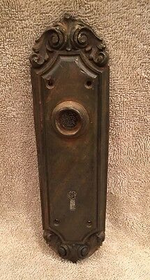 Antique Brass/Bronze Victorian Door Knob Back Plate Escutcheon