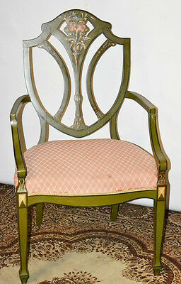 Antique Victorian Hepplewhite Style Painted Shield Back Elbow Chair [PL3525]