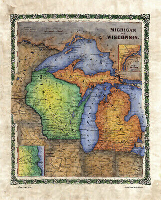 Antique Map of Wisconsin and Michigan, Lake Michigan, Antique Reproduction Map f