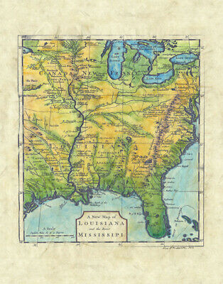 86 New Map of Louisiana vintage historic antique map painting poster print