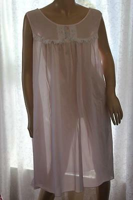 Vintage Sears Pink Nylon Nightgown w/White Lace & Embroidery 2X 42/22 XXL (5071)