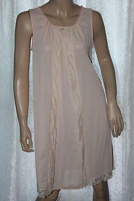 Vintage Lorraine Pink Nylon Mid-Length Nightgown with Lace Trim - Small (4072)
