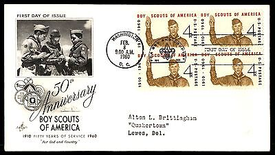 1960 4c BOY SCOUTS OF AMERICA BLOCK ARTCRAFT FDC FIRST DAY COVER