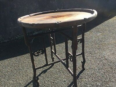 Antique Chinese Bamboo Folding Table Hand Carved Circa 1900