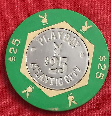 Set of 2 Different Atlantic City Playboy 25.00 Casino Table Chip MP128
