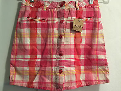 NEW Lands End Girls Pink White Yellow Skort Skirt Pants Attached Adjustable 10