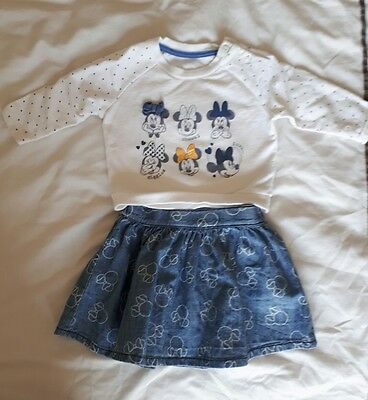 Minnie Mouse top and skirt set 3-6 months