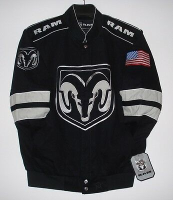Size SM Authentic Dodge Ram  Embroidered Cotton Jacket JH Design Black New S