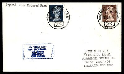 1989 MV Emily PG Shoreham UK cover colorful franking ship cover
