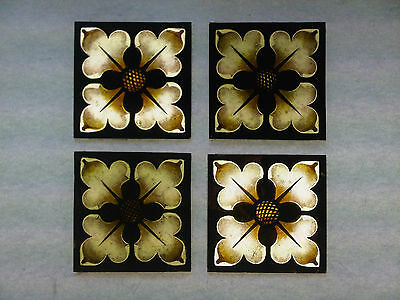 Beautiful Stained glass. FLOWERS.Hand painted. Kiln fired.75 x75 mm.New.4 p-s.