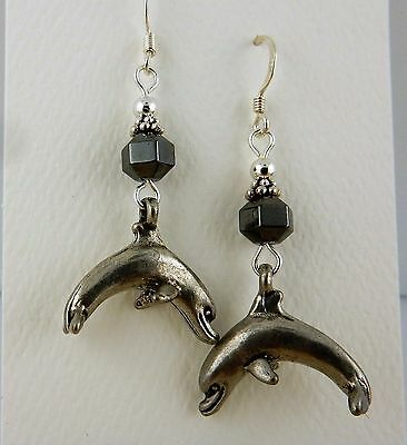 Pewter Leaping Dolphin Earrings with Hematite gemstones