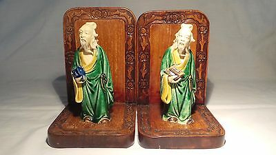 Antique Chinese Mud Men On Wooden Bookends