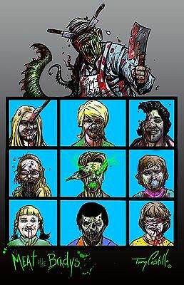 The Brain Eating Bunch by Artist Tommy Castillo Brady Bunch Zombies 11x17 Poster