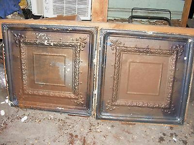 "2 each Reclaimed 24"" x 24"" Antique 1880's Ceiling Tin Tiles"