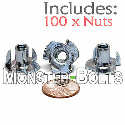 "(100) 1/4-20 x 7/16"" OAL 3-Prong Tee Nut Straight Barrel CR+3 Zinc Plated T-Nuts"