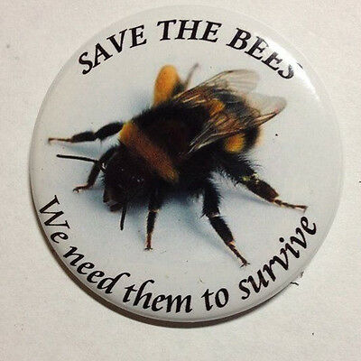 Save our bees metal badges. 2 inch all metal badges.