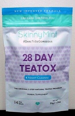 Skinny Mint 28 Day Teatox Night Cleanse~SkinnyMint~Factory Sealed~Exp 12-2018