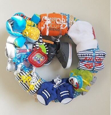 Daddy's Best Friend Baseball Baby Boy Clothing and Accessories Wreath