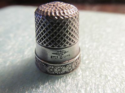 Antique Sterling Silver Daisy Daisies Flowers Band Thimble by Webster Co 1900s