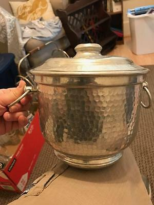 Vintage HAMMERED ALUMINUM Metal ICE BUCKET w/ LID - Made in ITALY