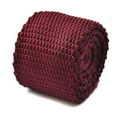 Frederick Thomas plain maroon knitted tie & pointed end in 8cm width FT272a