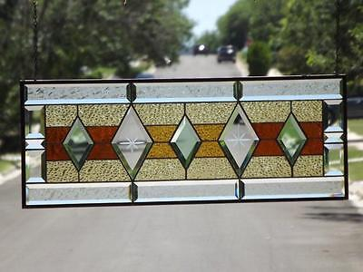 """•Warm & Inviting •Beveled Stained Glass Window Panel • 30 ½""""-11 ½"""" (78x 29 Cm)"""