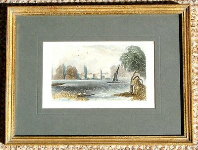 ANTIQUE COLLECTABLE FRAMED PRINT of HAND COLOURED ENGRAVING OF CHELSEA HOSPITAL