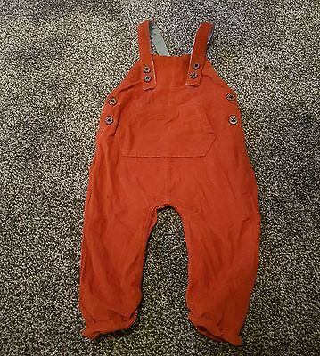 Next baby boy rusty red brown cord dungarees 9-12 months