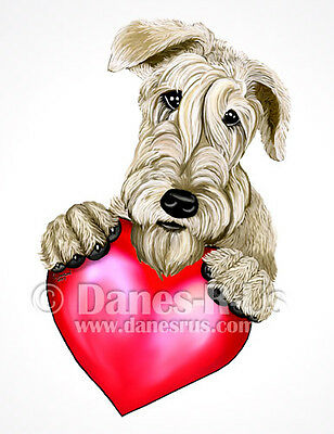 Wheaten Terrier Holding Heart Valentines Dog Art Greeting Note Cards Set of 10