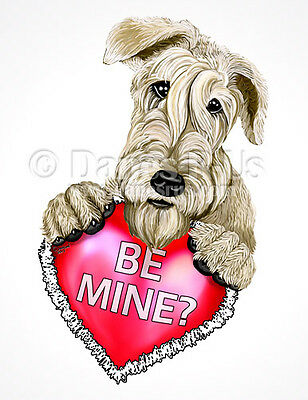 Wheaten Terrier Be Mine Heart Valentines Dog Art Greeting Note Cards Set of 10