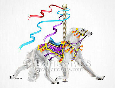 Saluki White Carousel Animal Dog Greeting Note Cards Set of 10