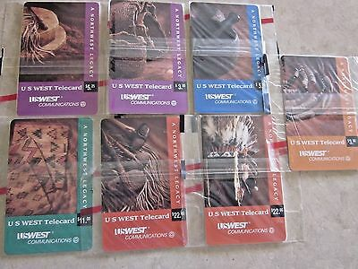 Group of 7 U. S. West Chip Phone cards with Indian Craft Images. 1994 in cello