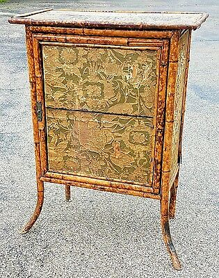 Antique 1890s English 1- Door Japanesque BAMBOO CABINET w Shelves Design Project