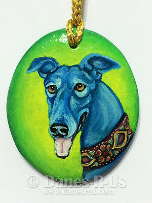 Greyhound Dog Art Painting Christmas Ornament Hand Painted Original Whippet