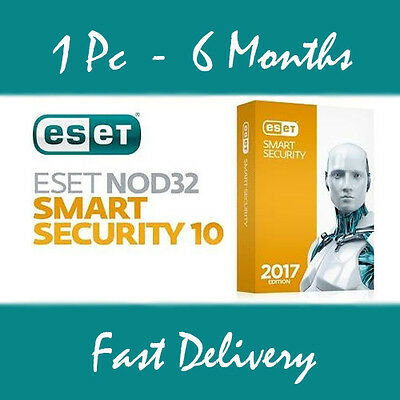 ESET NOD32 Smart Security,Antivirus 1user Downl Edition(6 months license) Read!