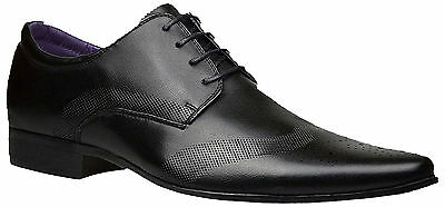 Mens New Lace Up Leather Lined Formal Casual Shoes Black Office Wedding Boots