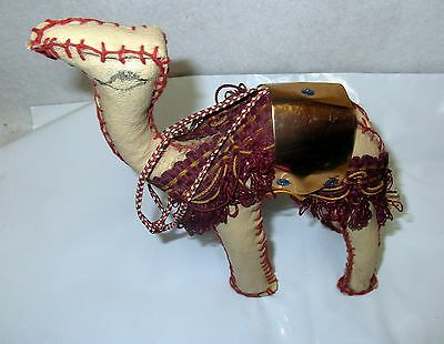 Vintage Hand Stitched Leather Camel W/ Saddle Figurine