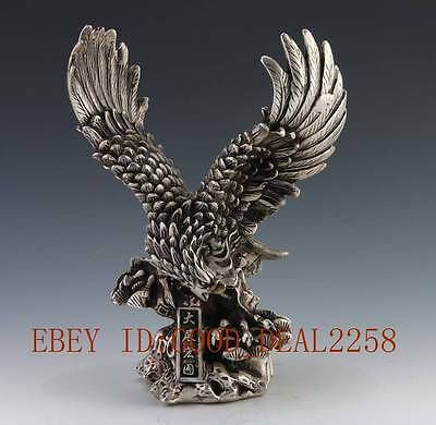 """8"""" China silver carved fina Realize one's ambition eagle Sculpture Statue"""
