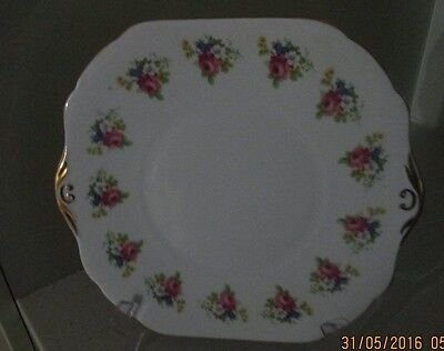 STANLEY Fine Bone China England Cake Plate Floral with Gold edging.