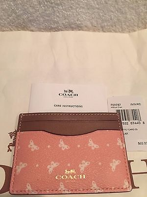 COACH  Blush Chalk Butterfly Flat Card Case / Credit Card Holder-NWT