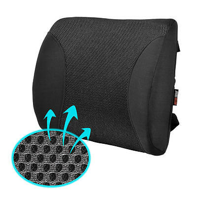 MeshBreeze Lumbar Cushion Back Support Seat Pillow Black for Car Office Home