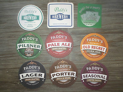 "9 Diff. PADDY,S BREWERY,special issue  N.S.W.  Beer Coasters ""CLOSED"""