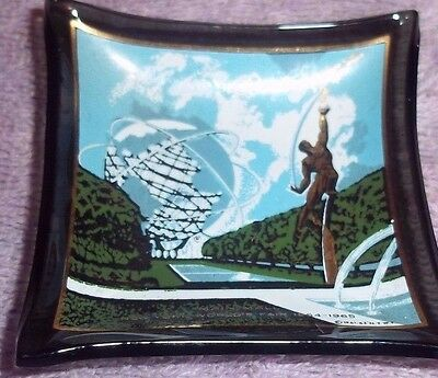 New York World's Fair 1964 - 1965 Souvenir Glass Tray Houze Art