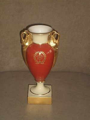 Rare Vintage Lenox Brick Red Empire Vase Gold Swan Handles & Base Old Blue Mark