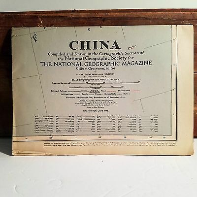 Historic Old Vintage Original Historical National GEOGRAPHIC Map 1945 China
