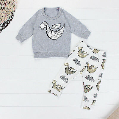 Newborn Kids Baby Boy Girl Sweatshirt Tops+Long Pants Outfits Clothes Set 6M