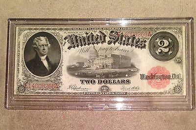 Us 1917 $2 Two Dollar Bill Red Seal Large Currency Note
