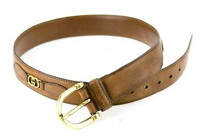 Gucci Vintage Brown Leather Belt W/ Gucci Logo Metal Accents Size Small Italy